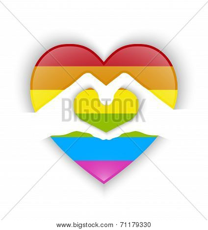 Heart Shape Design With Gay Flag And Shadow Effect
