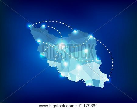 Iran Country Map Polygonal With Spot Lights Places