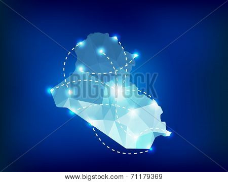 Iraq Country Map Polygonal With Spot Lights Places