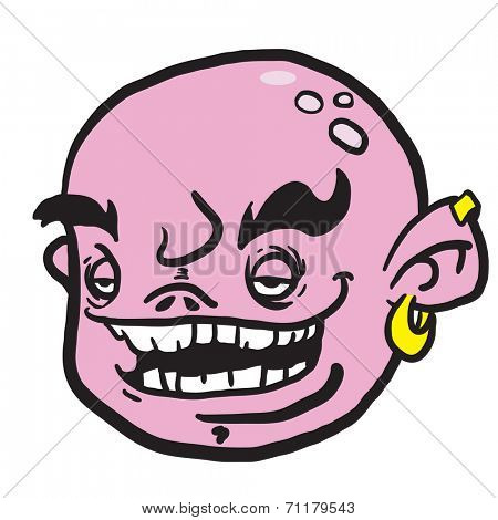 pink cartoon face isolated on white