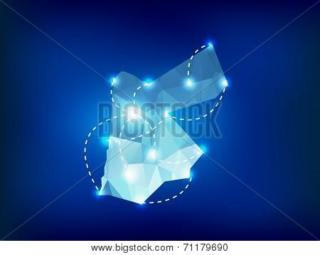 Jordan Country Map Polygonal With Spot Lights Places