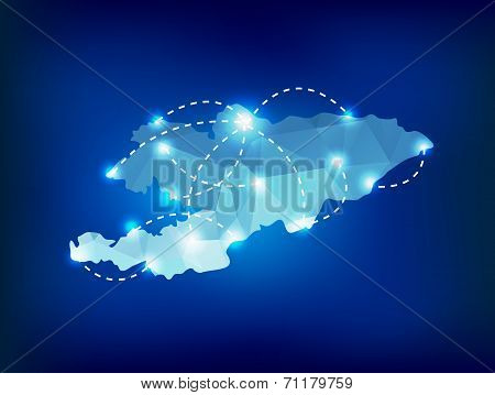 Kyrgyzstan Country Map Polygonal With Spot Lights Places