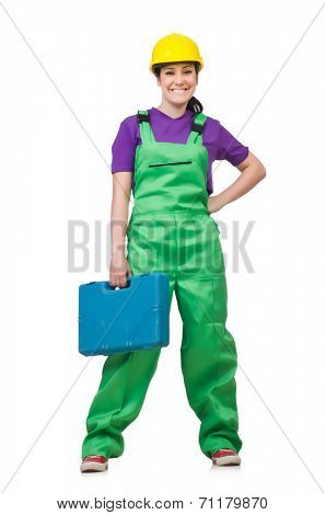Woman  with toolkit isolated on the white
