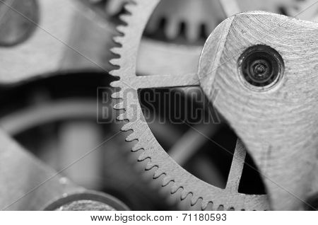 Black White Background With Metal Cogwheels A Clockwork.rather Unique Macro Photo, For Your Successf