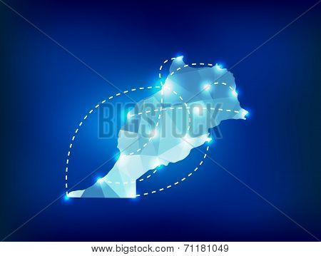 Morocco Country Map Polygonal With Spot Lights Places