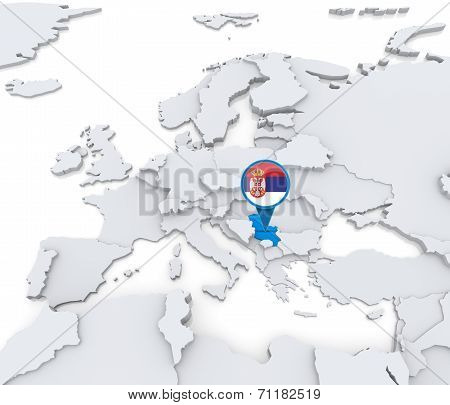 Serbia On A Map Of Europe