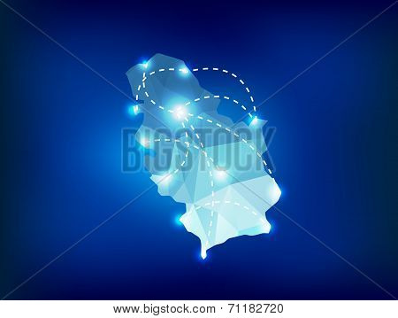 Serbia Country Map Polygonal With Spot Lights Places
