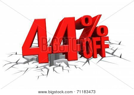 3D Render Red Text 44 Percent Off On White Crack Hole Floor.