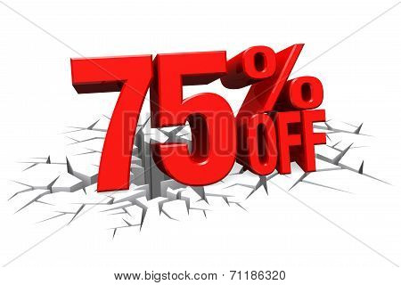 3D Render Red Text 75 Percent Off On White Crack Hole Floor.
