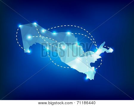 Uzbekistan Country Map Polygonal With Spot Lights Places