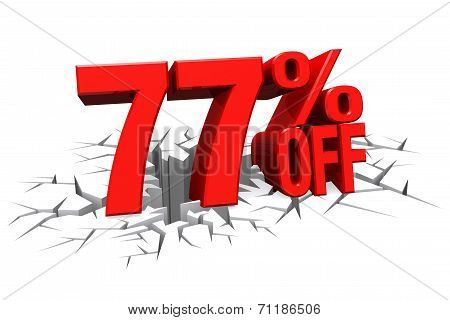3D Render Red Text 77 Percent Off On White Crack Hole Floor.