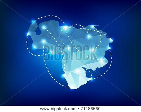 Venezuela Country Map Polygonal With Spot Lights Places