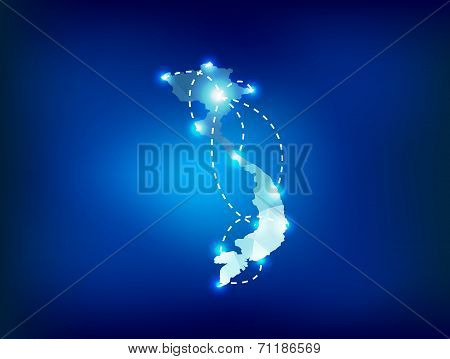 Vietnam Country Map Polygonal With Spot Lights Places