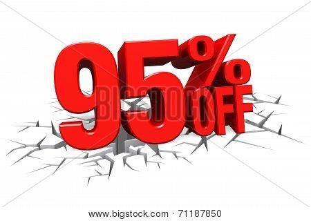 3D Render Red Text 95 Percent Off On White Crack Hole Floor.