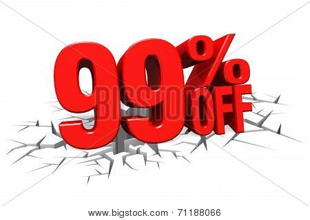 3D Render Red Text 99 Percent Off On White Crack Hole Floor.