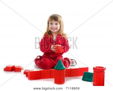 Little Girl With Red Blocks