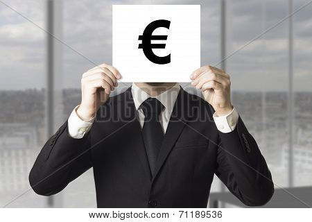 Businessman Hiding Face Behind Sign Euro Symbol