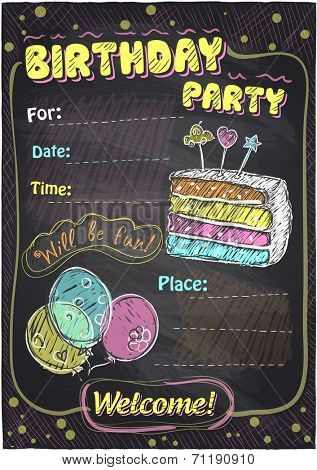 Birthday party chalkboard design with place for text. Eps10