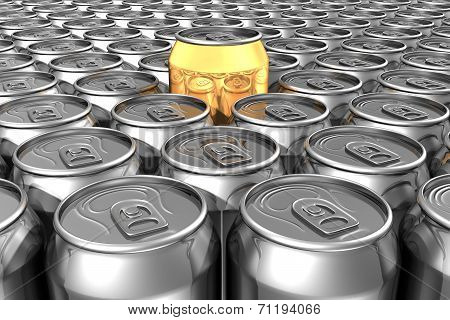 Gold Soda Can Standing Out