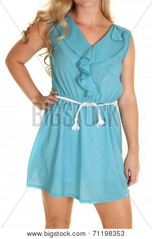 Close Up Baby Blue Dress Rope Belt