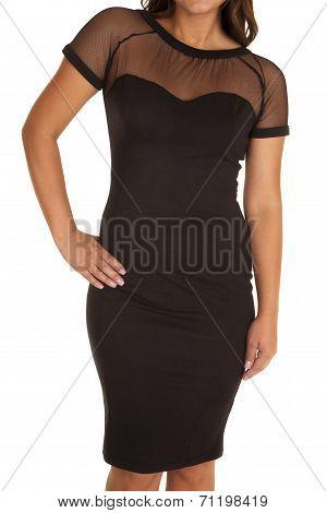 Close Up Black Dress Sheer Top