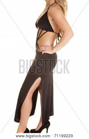 Close Up Slit Dress Leg