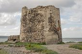 picture of coast guard  - Guard tower stone on the coasts of Sardinia - JPG