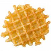 stock photo of crisps  - Closeup of crisp waffle isolated on white background - JPG