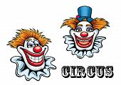 stock photo of circus clown  - Funny circus happy cartoon clowns characters with hat and ball nose - JPG