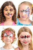 stock photo of face painting  - Group of kids with face painting isolated in white - JPG