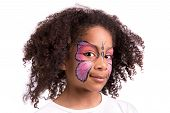 pic of face painting  - Beautiful young girl with face painted like a butterfly - JPG