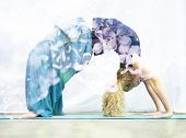 foto of dhanurasana  - Double exposure portrait of young woman performing back bend combined with photograph of nature - JPG