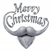image of long beard  - Merry Christmas concept as a happy humorous greeting card message as a santa clause beard and mustache with long whiskers shaped as written text on a white background - JPG