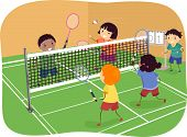 picture of badminton player  - Illustration Featuring Kids Playing Badminton Doubles - JPG