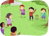 image of cricket ball  - Illustration Featuring Kids Playing Cricket - JPG