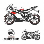 Постер, плакат: Sport superbike with helmet