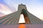 image of tehran  - Azadi tower at sunset - JPG