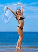 stock photo of denude  - Posing Woman Beach  - JPG
