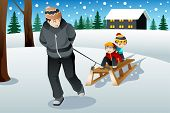 picture of sleigh ride  - A vector illustration of father pulling his sons riding on a sled - JPG