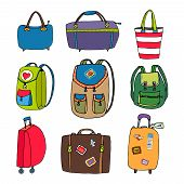 stock photo of carry-on luggage  - Variety Colorful Luggage  Bags  Backpacks and Suitcases  Isolated on White Background - JPG