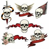 foto of tribute  - Set of commemorative skull icons with roses  blank ribbon banners  wings and a sword an snake to honor and remember the dead   vector drawings on white - JPG