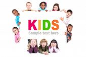 foto of sign board  - Group of children with a white board isolated in white - JPG