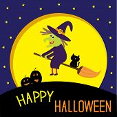 image of happy halloween  - Flying cartoon witch and cat - JPG