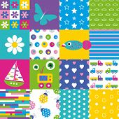 picture of butterfly fish  - colorful flowers stars ellipses circles stripes hearts trucks ladybugs and polka dot pattern set with butterfly flower fish boat and robot illustrations - JPG
