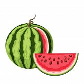 stock photo of watermelon slices  - Vector illustration of watermelon with a slice isolated on a white background - JPG