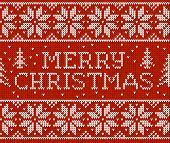 stock photo of merry chrismas  - Red vector knitted seamless pattern with sign Merry Christmas - JPG