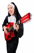 foto of nun  - Nun with guitar isolated on the white - JPG