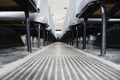 picture of motor coach  - Aisle Between Seats in School Bus - JPG
