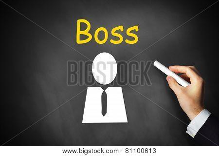 Hand Drawing Boss On Black Chalkboard