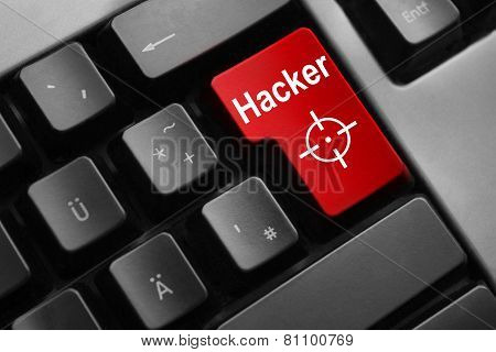 Grey Keyboard Red Enter Button Hacker Attack crosshair